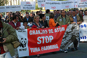 WWF and Spanish artisanal tuna fishers join in a demonstration asking the International Commission ... / ©: WWF/Carlos G. Vallecillo