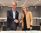 WWF Director General Marco Lambertini shakes hands with Inger Andersen, Director General of IUCN at a reception announcing the partnership.
