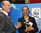 Marina Silva accepts the 2008 Duke of Edinbugh Conservation Medal form his Royal Highness Prince Phillip