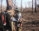 Marking transects in the Mondulkiri Protected Forest.