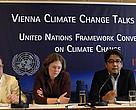 WWF International's Climate Change Communications Officer, Martin Hiller (left), participating in a Climate Action Network press briefing at the Vienna Climate Change Talks.