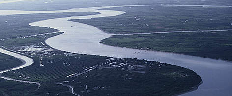 Aerial view of the Mekong Delta in Southern Vietnam. rel=