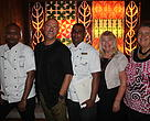 Mr Khan (center) with Executive Chef Shailesh Naidu, Robert Oliver (LCB Chef Ambassador), Jenny Jenkins (LCB General Manager) Sally Bailey(WWF-Pacific)