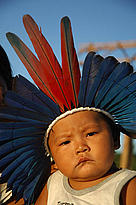 Though the young Indian is wearing a headdress, the Apiaká Indians we met have kept little from their indigenous culture.