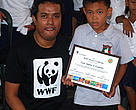 WWF's Johnjoe Cantos poses with Carl Andrei Leuterio, WWF's youngest Hero of the Environment thus far.