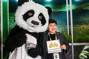 FAST's Noemi Perez with the WWF panda.