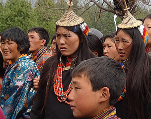 Highlanders from Laya (Gasa district) waiting impatiently for the festivities to begin.