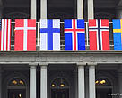 The flags of the United States, Denmark, Iceland, Finland, Norway and Sweden.