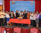 Department of Livestock and Fisheries, Ministry of Agriculture and Forestry and  WWF-Laos sign and agree to work towards promoting sustainable aquatic development in the Siphandone area of Champassak province.