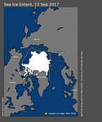 Arctic sea ice extent on September 13, 2017. © National Snow and Ice Data Center