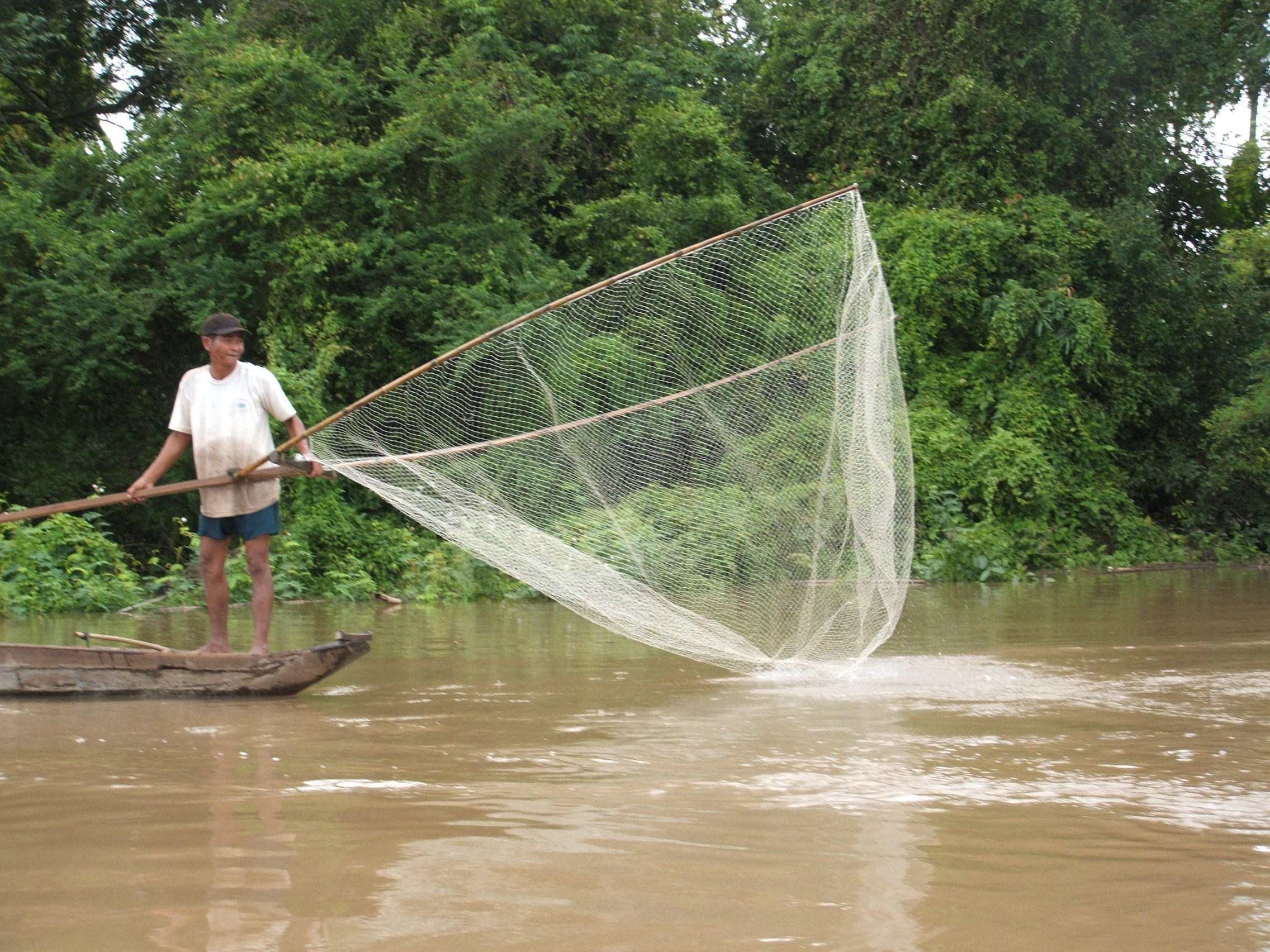 A fisherman on the Mekong River.