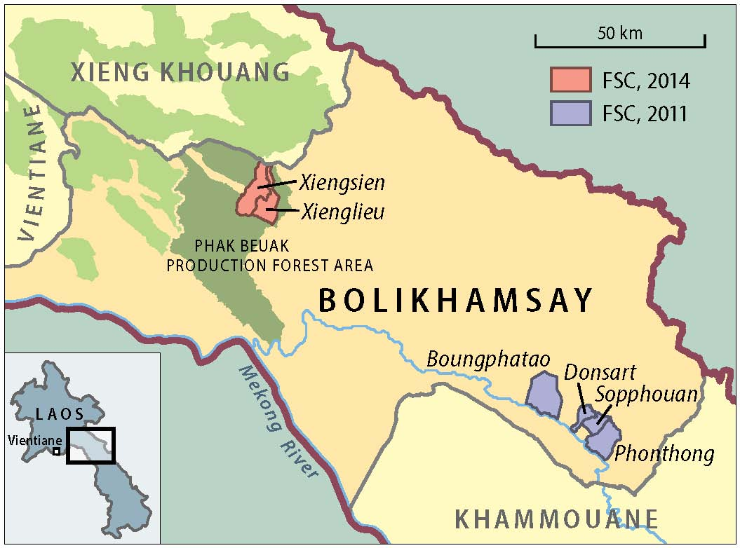 Distribution of certified rattan villages in Bolikhamsay, central Laos
