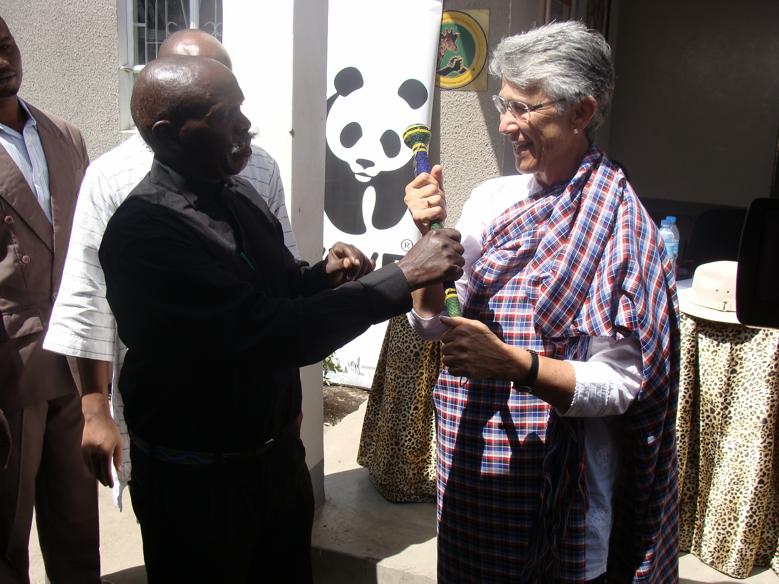 WWF International President, Yolanda Kakabadse appreciated by members of Wildlife Management Areas- WMAs in Tanzania after awarding them with WWF Leaders for a Living Planet