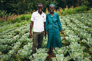 Nancy Rono with Kennedy Onyango, WWF-Kenya on Nancy's farm in Bomet County, Mara River Upper Catchement