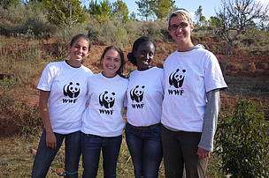 Four of the six volunteers: Audrey (France), me, Sylvia (Rwanda), and Megan (Canada) from left to right