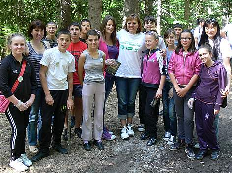 TV weatherwoman Stanislava Tsalova with volunteers during WWF's National Day of Nature Parks in ... rel=