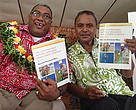 Macuata province high chief Ratu Wiliame Katonivere (left) with Roko Tui Macuata Sitiveni Lalibuli with copies of the Natural Resource Management Strategy document