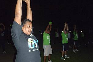 Stretching exercises before the walk begins at 4am