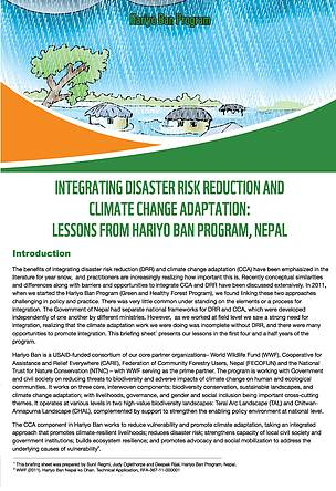 Integrating Disaster Risk Reduction and Climate Change Adaptation: Lessons from Hariyo Ban Program, Nepal
