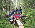 Canon Europe employees participating in a PAN Parks volunteer programme. Volunteers helped repair old and damaged footbridges and build new walkways throughout the park. Fulufjället, Sweden.