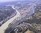 Passau lies at the confluence of the rivers Danube, Inn and Ilz in Germany.
