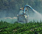 Pesticide spraying of a strawberry field, Spain.