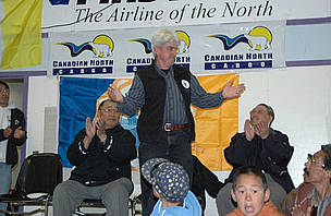 WWF-Canada's Pete Ewins addresses community members in Clyde River, Nunavut during celebrations for ...  	© WWF / Bruce Uviluq, NTI