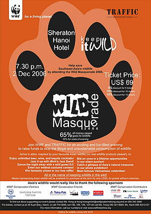 Poster for the WWF Greater Mekong Programme's Wild Masquerade 2006 event.