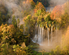 Autumn colours on the trees surrounded by the early fog, Veliki Prstvaci waterfalls, close to Gradinsko lake, Upper Lakes, Plitvice National Park, Croatia.