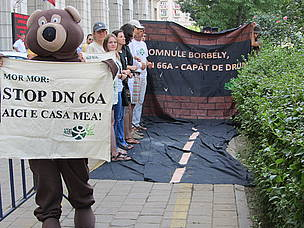A protest in front of the Romanian Ministry of Environment and Forests in early July.