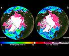 NASA QuikScat image of arctic sea ice changes between 2004 & 2005.