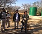 The two MONREC officials together with Country Director of WWF-Myanmar observing Southern African Wildlife College.