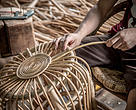 Rattan furniture being made for export to European markets at a factory in Laos.