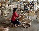 A worker uses rattan in Laos. Rattan is widely used for food, furniture and other products and traded extensively across the region, in the European Union and worldwide markets.