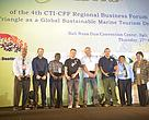 Winners' representatives during the awarding ceremony, (L-R) Representative  Madang Resort Hotel, James Harvey of Reef World in behalf of Evolution Dive Resort, Patson Baea of Oravae Cottage, David McCann of Scuba Junkie, Chris Brown of Reef Seen, and Francisco Mesina of Dive Timor Lorosae. Standing next to them are CTI-CFF Regional Secretariat Executive Director Widi Pratikto and Coral Triangle Center Executive Director Rili Djohani.