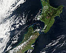 Satellite image of New Zealand. Stunning true-color image provides a rare, cloud-free look NZ. Scene acquired by the Moderate Resolution Imaging Spectroradiometer (MODIS) flying aboard NASA's Terra satellite 23 Oct 2002.