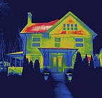 Thermographic image of a residence house in New Haven, CT, USA. ©National Geographic Stock/Tyrone Turner / WWF