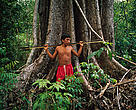 Amazon, Brazil, Roraima Province. Yanomami hunting in rainforest near to Demini Molaca.
