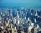 Skyline of Manhattan Island in New York City New York, United States of America