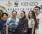 From L-R: Illustrator and designer Esther Goh (Singapore), illustrator and printmaker Julienne Tan (Cambodia), co-creative directors of KENZO Humberto Leon and Carol Lim, contemporary artist and sculptor Meryl Smith (USA) and visual and digital artist Sean Lean (Malaysia)