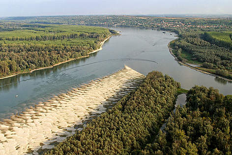 The Danube-Drava confluence between Serbia and Croatia. rel=