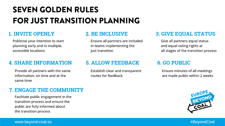 Seven Golden Rules for open and inclusive just transition planning at the regional level.