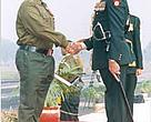 Lt Col Dinesh Sharma receiving the Vashishth Sewa Medal (VSM) from Lt General S. S. Mehta, PVSM, AVSM, VSM, GOC-in-C, Western Command.<BR>