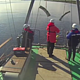 Researchers test improved fishing trawling gear, Russia.