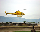 A Soco helicopter lands in Virunga National Park.