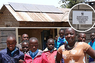 Primary school students at Leshuta Primary School, Narok County where WWF installed a solar lighting system