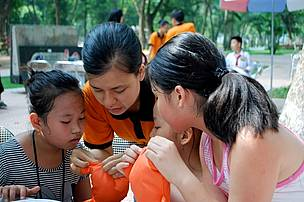 Children enjoyed educational activities on the Tiger Day organized in Hanoi in 2011