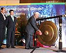 Dr. H. Awang Faroek Ishak, Governor of East Kalimantan Province, struck the gong to officially open the 5th Tri-lateral meeting watched by  Mr. Haji Saidin Bin Salleh, Director of Forestry Department, Ministry of Industry and Primary Resources, Brunei Darussalam. (left) and Mr. Frederick Kugan, Deputy Director of Forest Sector Planning (right)