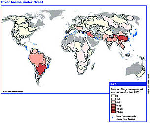Large dams planned in river basins around the world in 2003. / ©: World Resources Institute
