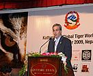 Dr Eric Dinerstein, WWF's Chief Scientist, speaks at the closing ceremony of the Kathmandu Global Tiger Workshop, October 30.